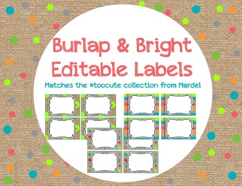 Editable Burlap and Bright Labels matches toocute
