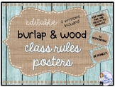 Editable Burlap and Wood Rustic Class Rules Posters