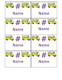 Editable Color Coded Bus Dismissal Tags, Table Signs, and