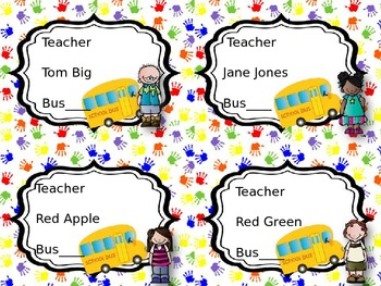 Editable Bus Tags with Kids and Handprint Theme