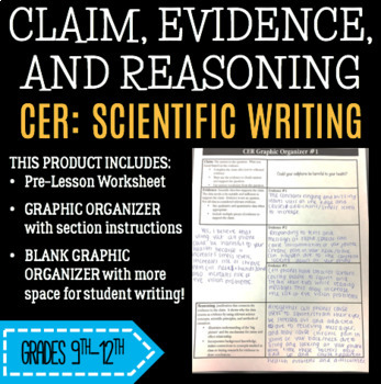 CER Graphic Organizer and Scientific Writing w/ Peer Revie