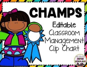 Editable CHAMPS Classroom Management Clip Chart