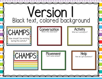 Editable CHAMPS Classroom Management Clip Chart- Bright ROYGBIV Colors