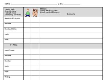 Editable CICO Behavior Sheet