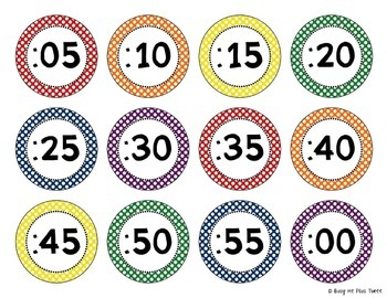 ~Editable~ CLOCK LABELS in Primary, Bright, and Basic Black and White Colors