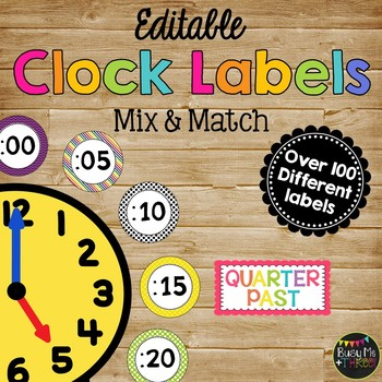 ~Editable~ CLOCK LABELS in Primary, Bright, and Basic Blac