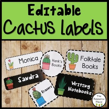 Editable Cactus Themed Labels!