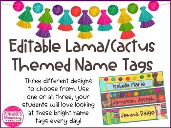 Editable Cactus/Lama Themed Name Tags/Desk Tags