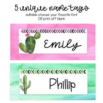 Editable Cactus Name Tags