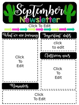 Editable Cactus Parent Newsletter