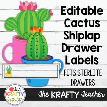 Editable Cactus Shiplap Drawer Labels