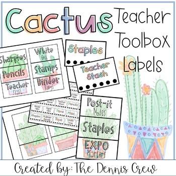 Editable Cactus Teacher Toolbox Labels