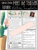 Editable Cactus Theme Meet the Teacher Letter Template