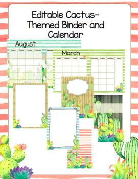 Editable Cactus Themed Binder