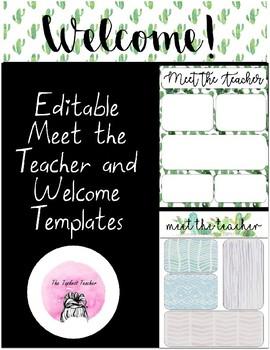 Editable Cactus Themed Meet the Teacher and Welcome Templates