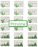 Editable Cactus Themed Toolbox Labels