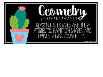 Editable Cactus Themed Tub Labels Includes Months and 2nd Grade Standards
