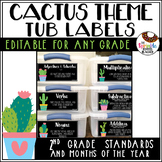 Editable Cactus Themed Tub Labels Includes Months and 2nd