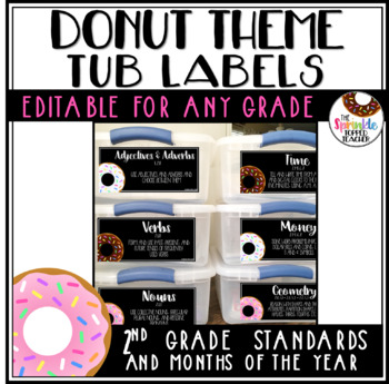 Editable Donut Themed Tub Labels Includes Months and 2nd Grade Standards