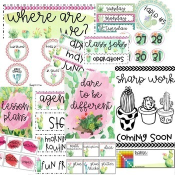 Cactus Water Color Classroom Theme Set {Editable}