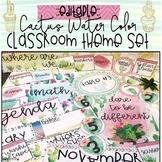 Cactus Water Color Classroom Theme Set {Editable}