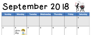Editable Calendar 2018-2019 School Year