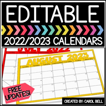 EDITABLE CALENDARS 2018-2019