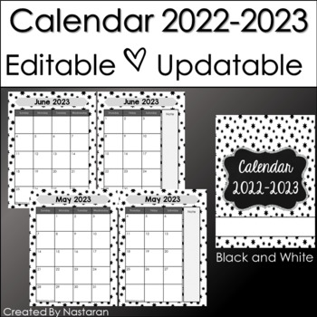 Editable Calendar 2017-2018  In Black and White