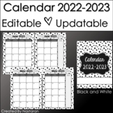 Editable Monthly Calendar 2018-2019  In Black and White