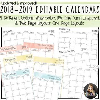 Editable Watercolor Calendar 2018-2019