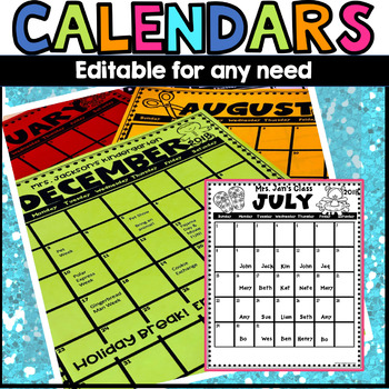 Monthly Calendar 2018-2019 editable