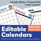 Editable Calendar 2020-2021   1 Year License   Animal Theme   Google Slides Ver.