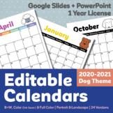Editable Calendar 2020-2021   1 Year License   Dog Theme   Google Slides Ver.