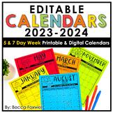 Editable Calendar 2020-2021   Printable   Digital   Distan