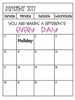 Editable Calendar Aug.- July