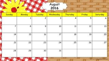 Editable Calendar - August 2016 to December 2017