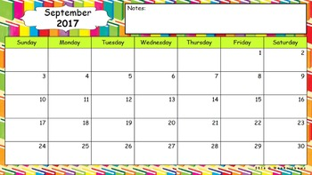 Editable Calendar - August 2016 to December 2017 With Notes Box