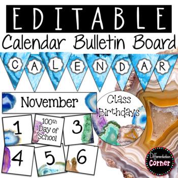 Editable Calendar Bulletin Board- Agate Classroom Decor