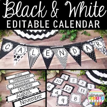 Editable Calendar Bulletin Board Black and White