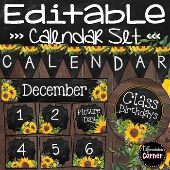 Editable Calendar Bulletin Board- Farmhouse Classroom Decor