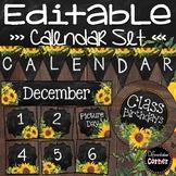 Editable Calendar Bulletin Board- Farmhouse Classroom Decor