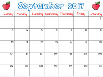 Editable Calendar Bundle: 2017-2018 School Year