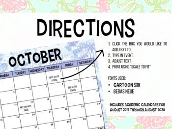 Editable Calendars {Lilly Pulitzer}