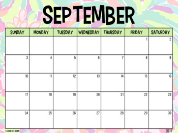 Editable Calendar // Lilly Pulitzer {August 2017 - 2020}