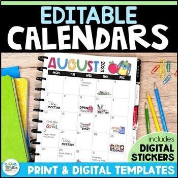 Editable Calendar - Click, Type, Print!