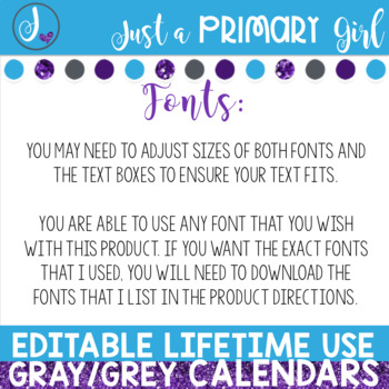 Editable Calendar - Gray/Grey Lifetime Use