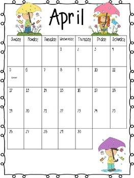 Calendar Kids Themed