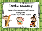 Editable Calendar Month Headings- Monkey Theme