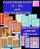 Editable Calendar Number Cut-outs and Backgrounds! PPT, JPEGS, AND PDF