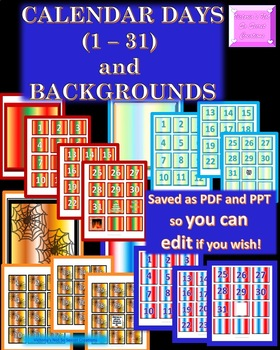 Editable Calendar Number Cut-outs and Backgrounds! PPT, JP